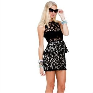 NWT STYLESTALKER PANTHERS BLACK LACE DRESS